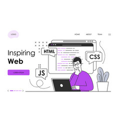 male character in glasses is web programming vector image