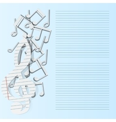 music background musical notes paper fall vector image