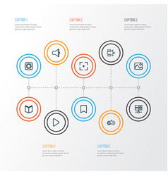 Music outline icons set collection of amplifier vector