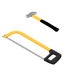 new handsaw and iron hammer isometric view vector image