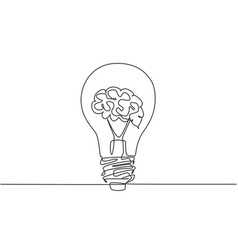 one single line drawing clean lightbulb with vector image