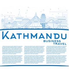 Outline kathmandu skyline with blue buildings and vector