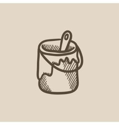 Paint brush in the paint tin sketch icon vector