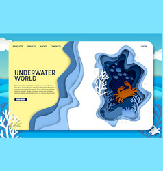 paper cut underwater world landing page vector image