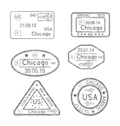 passport stamps chicago usa vector image