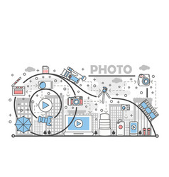 photo concept flat line art vector image