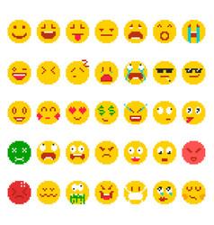 Pixel emoji set vector