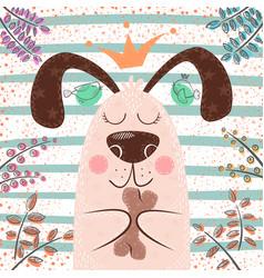 princess cute dog - cartoon characters vector image