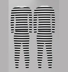Prison uniform striped t shirt and pants vector