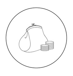 Purse with coins icon in outline style isolated on vector