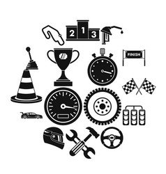racing speed icons set simple style vector image