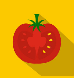 red half of tomato icon flat style vector image