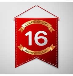 Red pennant with inscription sixteen years vector