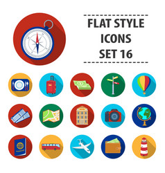 rest and travel set icons in flat style big vector image