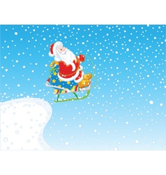 Santa flying with gifts on sled vector