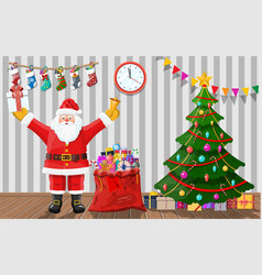santa in room with christmas tree and gifts vector image