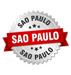 Sao paulo round silver badge with red ribbon vector