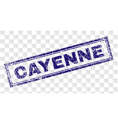 Scratched cayenne rectangle stamp vector
