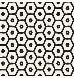 Seamless black and white pattern with hexagon vector