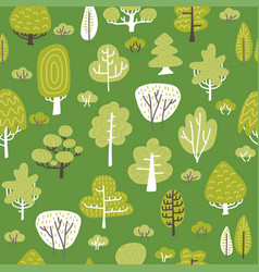 seamless pattern woth tree plants on green vector image