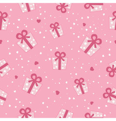 Seamless pink gift boxes pattern vector image