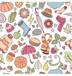 Set autumn hand drawn doodle vector