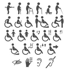set disability people pictograms flat icons vector image