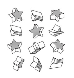 set of isometric 3d stars in pop art style vector image