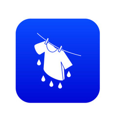 Shirt drying icon blue vector