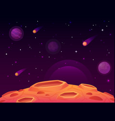 space asteroid surface planet with craters vector image