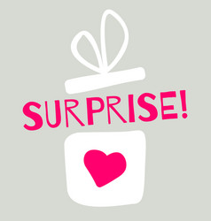 surprise giftbox with heart cartoon style vector image