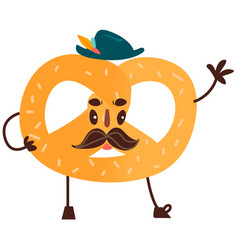 sweet humanized pretzel character isolated vector image