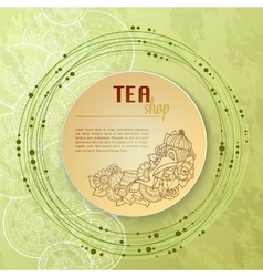 Tea and flowers doodle template pattern invitation vector