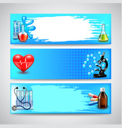 three medical banners on blue background vector image