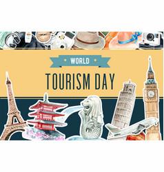 Tourism frame design with landmark singapore vector