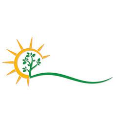 Tree symbol with sun vector