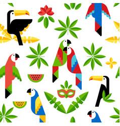 Tukan and parrots flat pattern vector