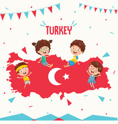 Turkey flag and kids vector