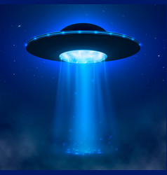 Ufo alien spacecraft with light beam and fog vector