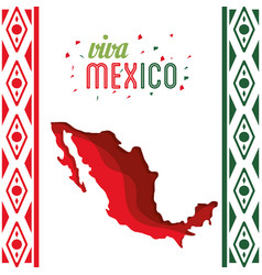 Viva mexico map decoration confetti vector