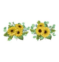 watercolor set bouquet templates for wedding vector image