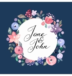 Wedding invitation card with watercolor flowers vector