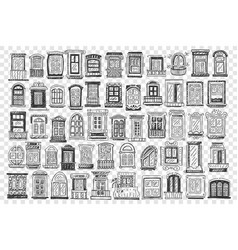 Windows hand drawn doodle set vector