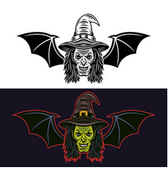 Witch head with bat wings two style objects vector