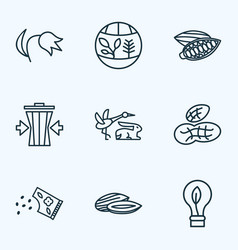 world icons line style set with flora eco bulb vector image