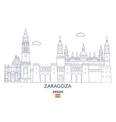 zaragoza city skyline vector image