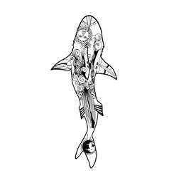 Zentangle shark coloring book shark vector
