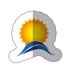 color sticker with sun over sea waves vector image