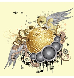 Gold disco ball with wings2 vector image