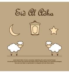Greeting card template for Eid-Ul-Adha with sheep vector image